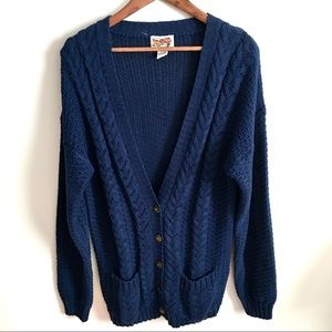 V Neck D Womens Cardigan Hand Knit Size 10 US New Zealand Made 12 UK 70s Vintage Sweater Mint Cable Knit Cardigan